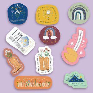 10 Affirmation Stickers GLOSSY (SM size set)